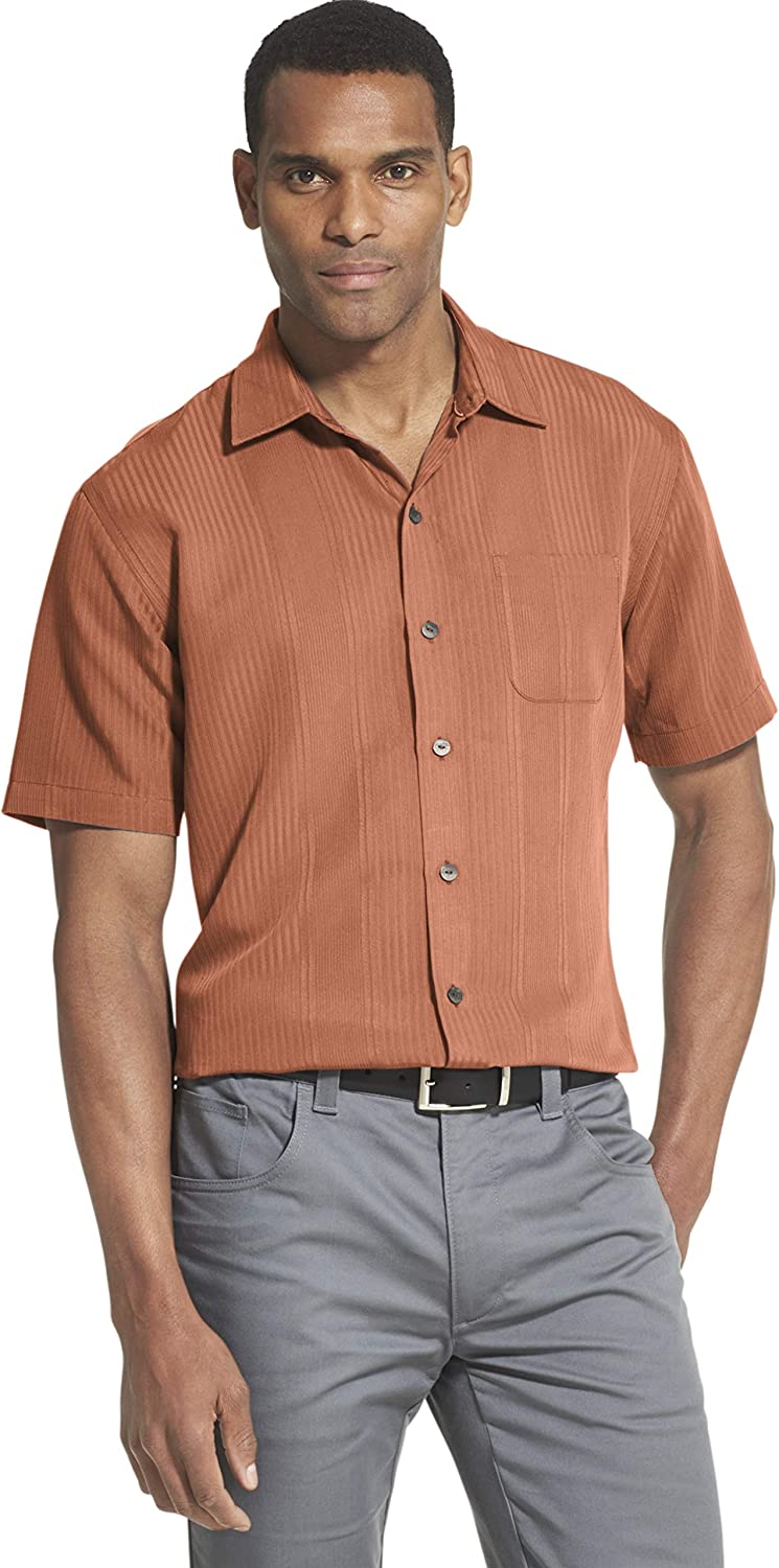 Van Heusen Men's Big and Tall Air Short Sleeve Button Down Poly Rayon Shirt (Discontinued)