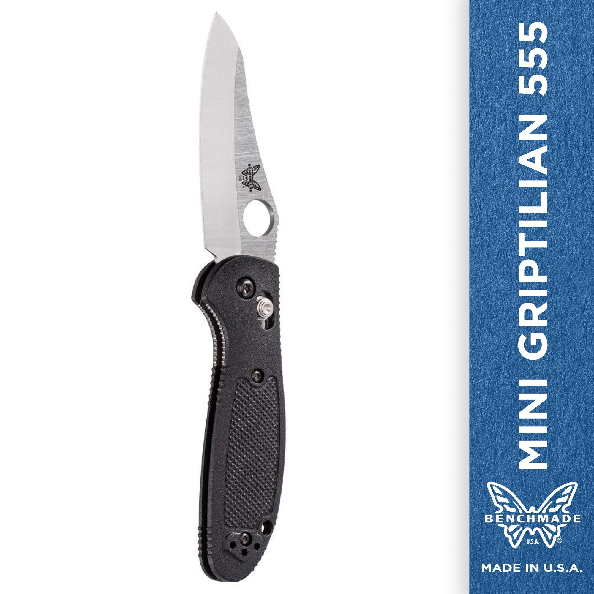 Benchmade - Mini Griptilian 555 Knife with CPM-S30V Steel, Sheepsfoot Blade, Plain Edge, Stain Finish, Black Handle