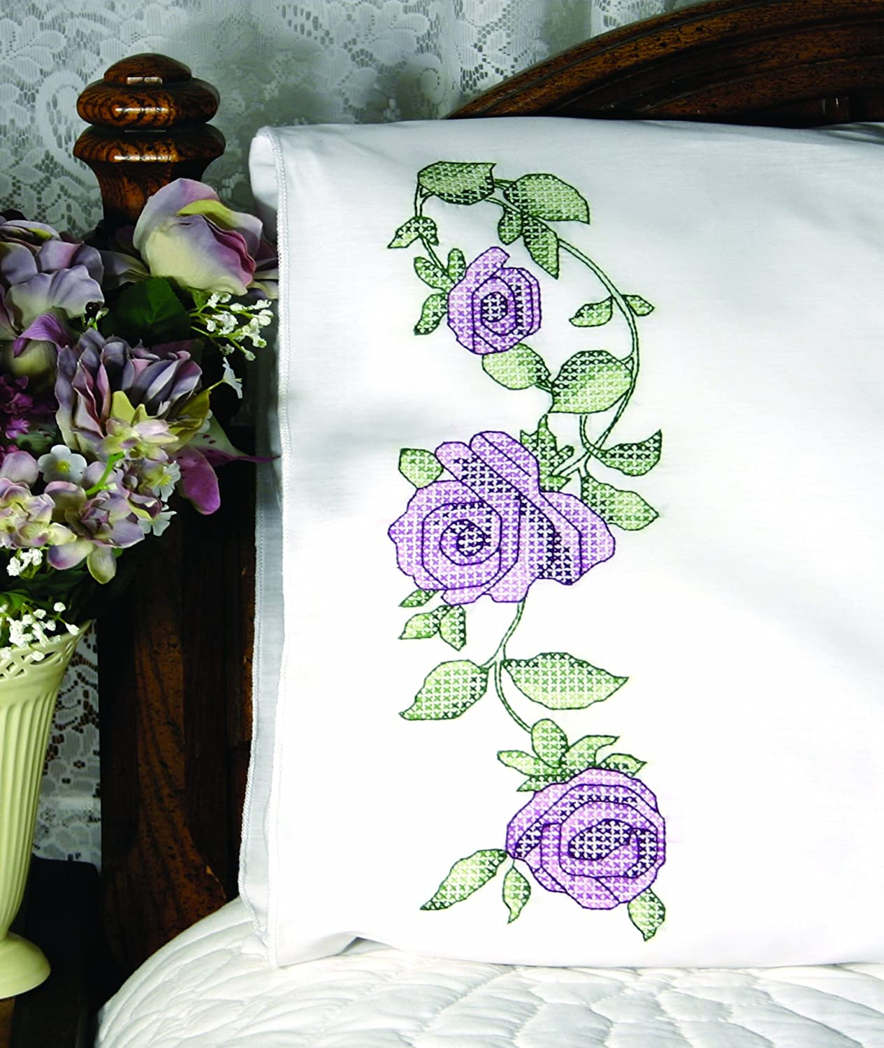 FAIRWAY STAMPED FOR EMBROIDERY PERLE EDGE PILLOWCASES FLOWER RIBBON