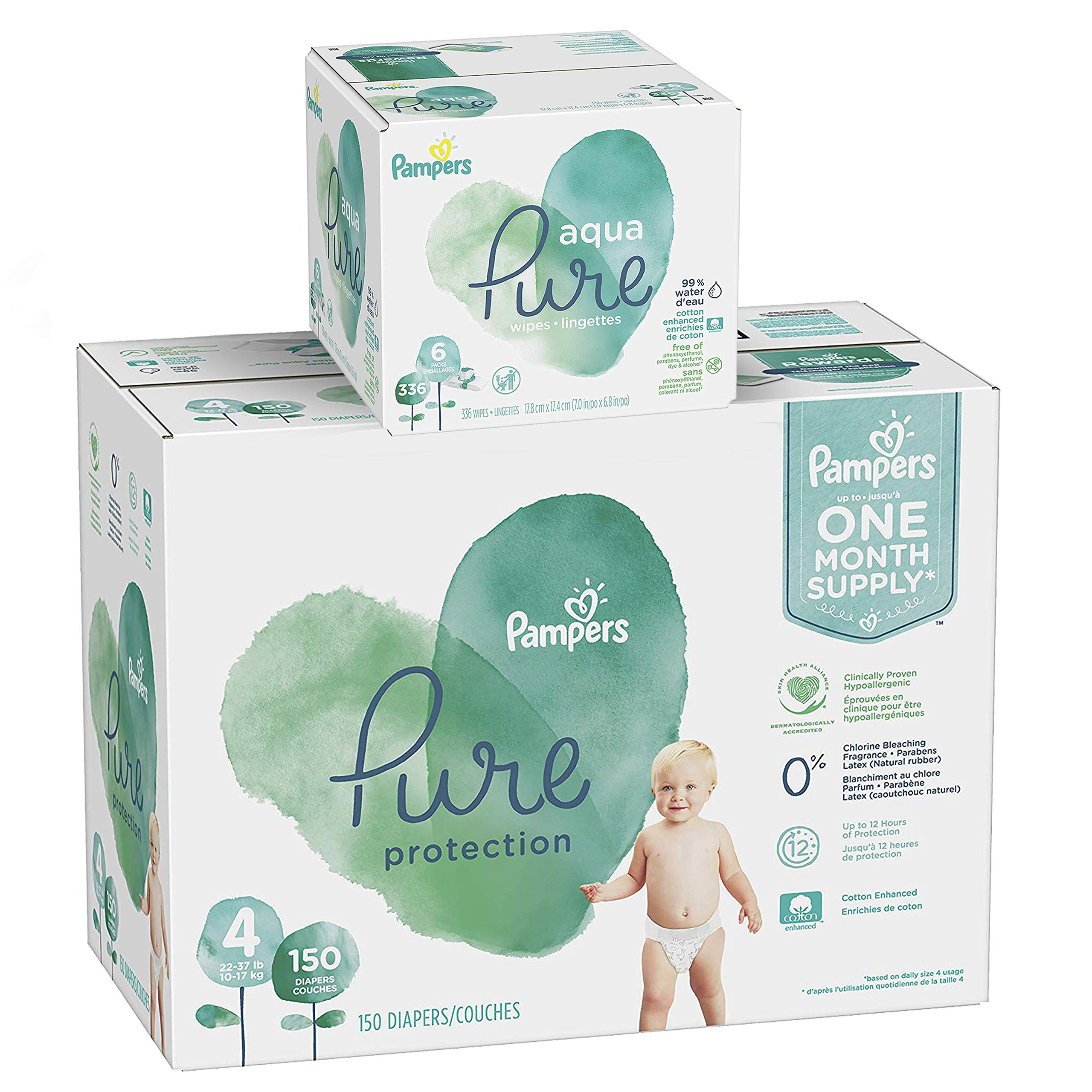 Pampers Pure Protection Diapers Size 4 150 Count with Aqua Pure 6X Pop-Top Sensitive Water Baby Wipes - 336 Count by Pampers (Image #1)