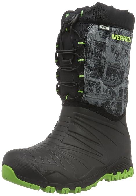 Merrell Quête De Neige Imperméable À L'eau, Zapatos De Grande Hauteur Senderismo Para Niños, Negro (noir / Vert / Printblack / Vert / Impression), 30 Eu