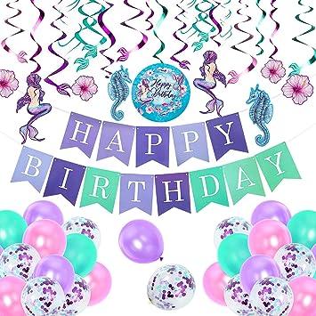 Comius 55 Piezas Sirena Party Decoración, Sirena Cumpleaños Fiesta Banner Globo Remolino Adornos para Temas del Mar Baby Shower Dama Fiesta De ...
