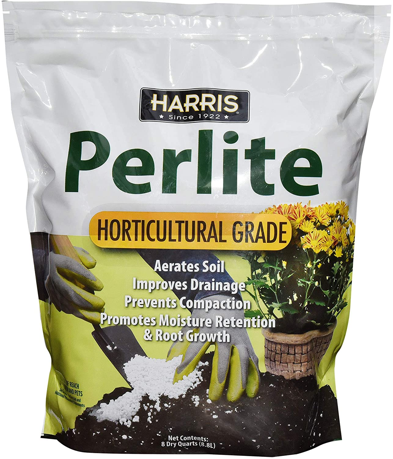 Harris Premium Horticultural Perlite for Indoor Plants and Gardening, 8qt to Promote Root Growth and Soil Health