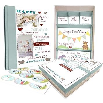 amazon com baby memory book w keepsake box 30 monthly baby