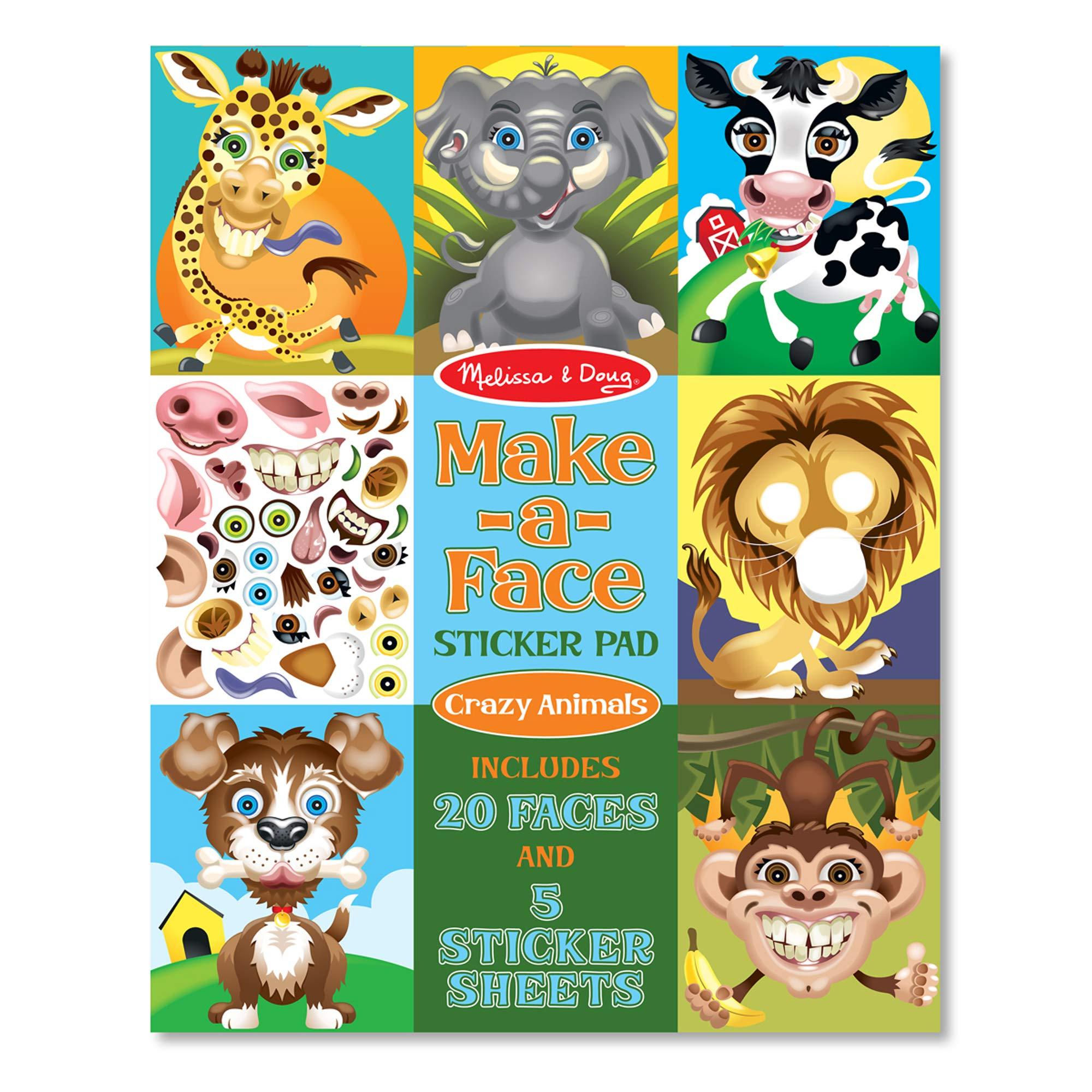 Melissa & Doug Make-a-Face Sticker Pad – Crazy Animals