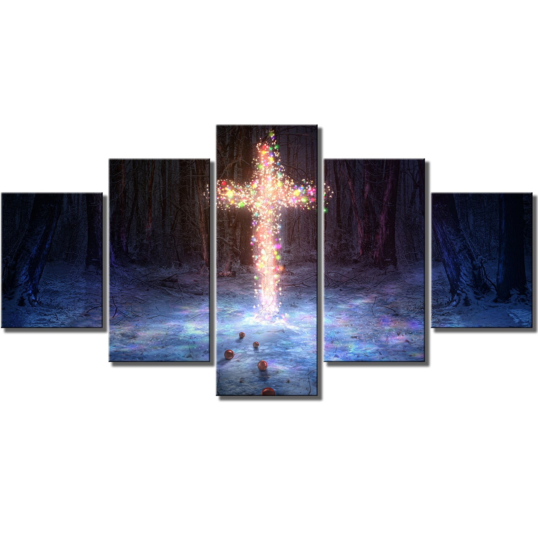 KLVOS Large Framed Canvas Prints Wall Art A Cross in the Forest Lit up with Christmas Lights 5 Panels Christian Painting Pictures for Wall Ready Handing on 32inchx60inch in Total by KLVOS