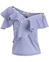 AOMEI Summer Blue Striped Blouse Shirts For Women