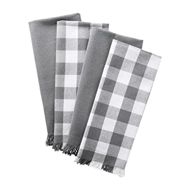 DII Woven Heavyweight Cotton Dish Towels with Decorative Fringe, Absorbent Dishtowels for Drying and Cleaning Kitchen Dishes or Countertops (18x28 , Assorted Assorted Set of 4) Gray Checker