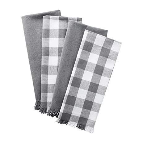 DII Cotton Checker Fringed Dish Towels, 18 X 28u0026quot; Set Of 4, Absorbent