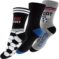 Lot de 6 paires de socquettes pour garçon - design: football - multicolore - garçon