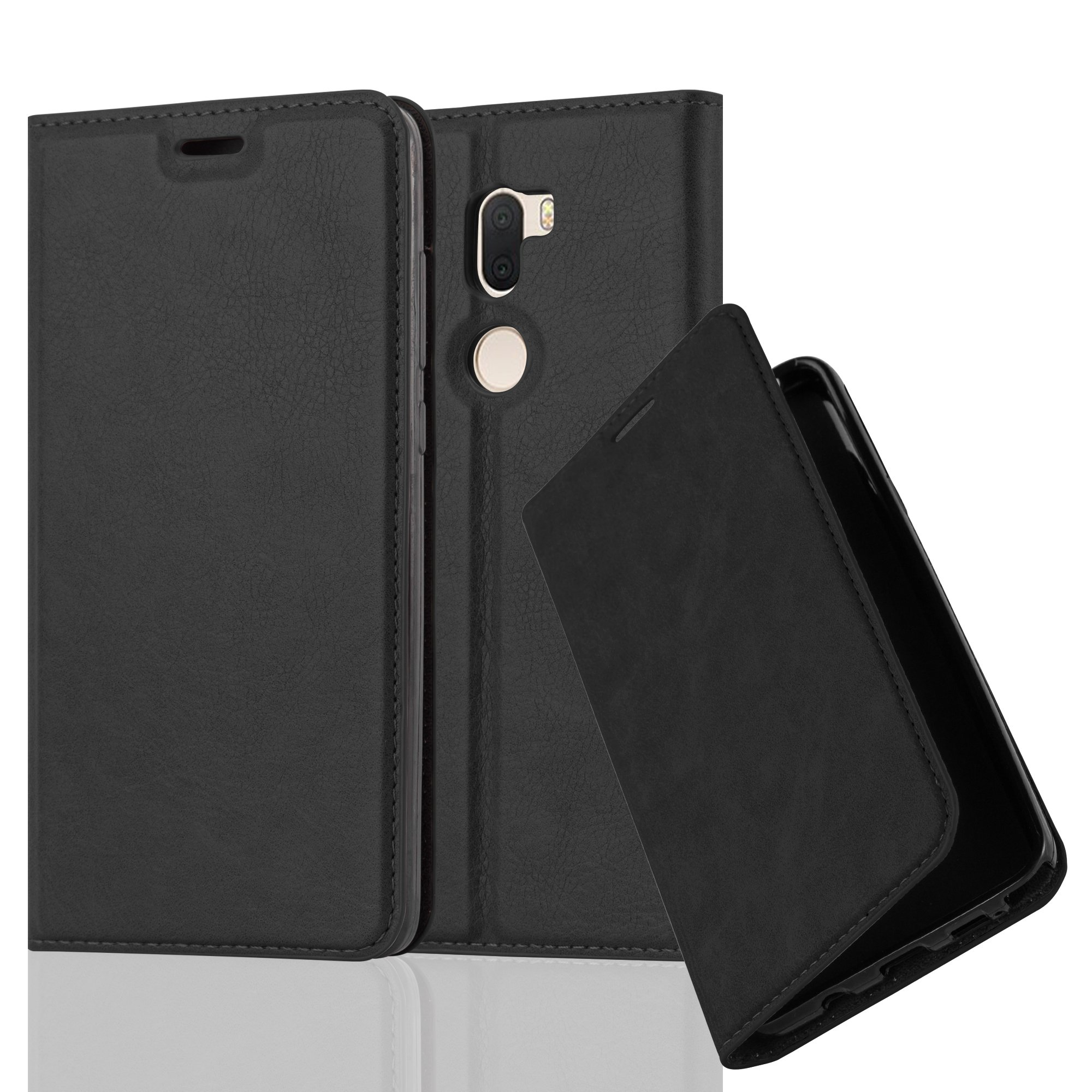 Cadorabo Case works with Xiaomi 5S PLUS Book Case in NIGHT BLACK (Design INVISIBLE CLOSURE) – with Magnetic Closure, Stand Function and Card Slot – Wallet Case Etui Cover PU Leather