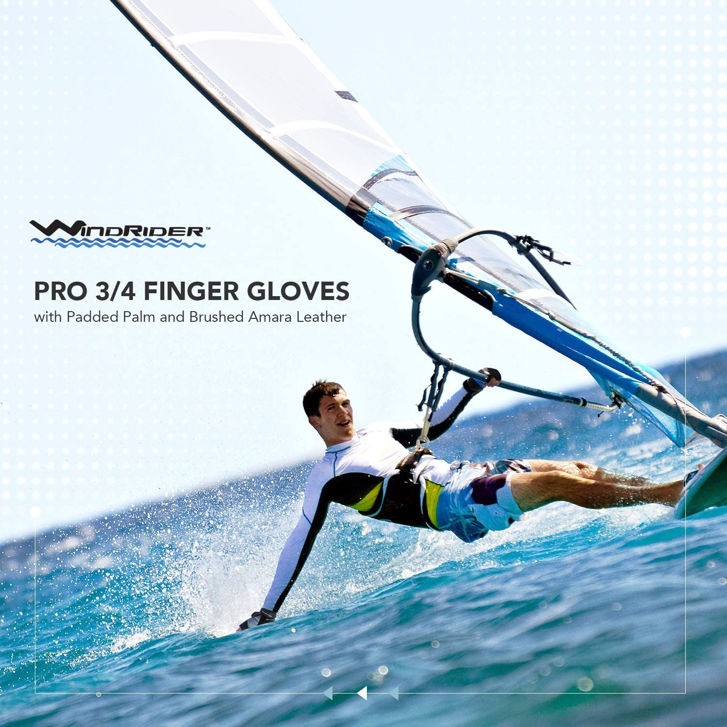 Mesh Back for Comfort Padded Palm and Amara Reinforcement WindRider Pro Sailing Gloves Canoeing or SUP Women and Kids Perfect for Sailing 3//4 or Full Finger Renewed Sizes for Men Paddling