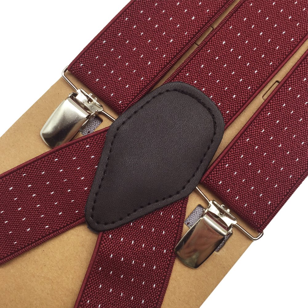 Mens Suspenders 1.4 Wide Elastic Braces Y Shape Trouser Braces with Four Strong Clips Burgundy and Small White Dots