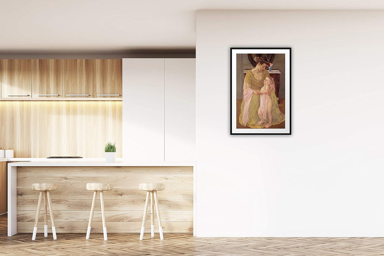 : Mary Cassatt Mutter und Kind mit einem Rosen-Schal Printed Paintings Passepartout 30x38cm