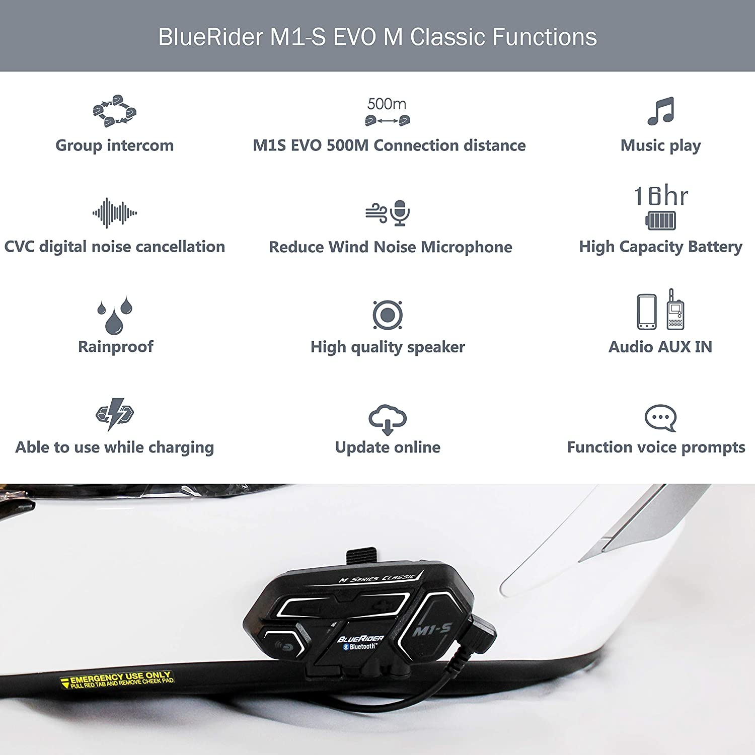 Waterproof Bluetooth Helmet Headset Kit with Music BlueRider M1-S EVO Bluetooth Motorcycle Headset Handsfree and Navigation 4-Way Wireless Intercom up to 2000m Calls