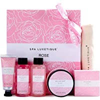 Spa Luxetique Spa Gift Set for Women, Valentines Day Gift Baskets for Women, Rose Bath Set, 6 Pcs Spa Kit Includes Body…