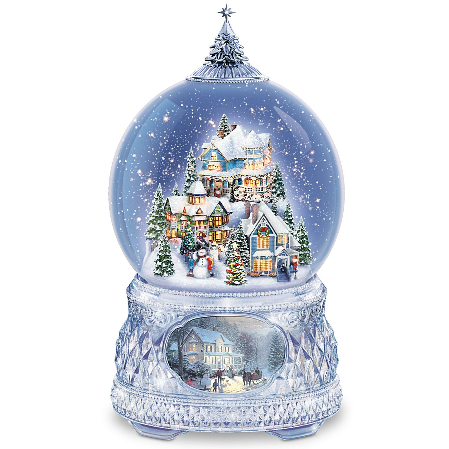 Thomas Kinkade Snowglobe With Crystal Base, Lights, Music: Home For The Holidays by The Bradford Exchange by Bradford Exchange