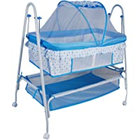 Toy House Baby Crib with Swing Function (Blue)