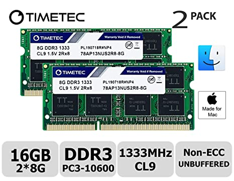 Timetec Hynix IC 16GB KIT(2x8GB) Compatible for Apple DDR3 1333MHz  PC3-10600 for Early/Late 2011 13/15/17 inch MacBook Pro, Mid 2010 Mid/Late  2011