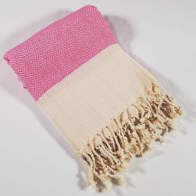 BEWONDA Pestemal Saunatuch Hamamtuch Handgewebt Pink XXL Badetuch 100/% Bio Baumwolle Natur Damen und Herren Diamant 100x180 cm