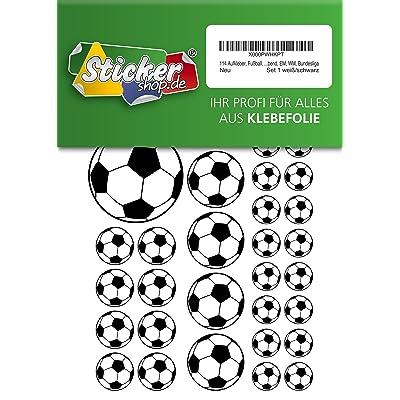 114, Fútbol, pegatinas, 15 - 50 mm, color blanco/negro, de PVC, pantalla, estampado, autoadhesivo, EM, WM, Bundesliga: Oficina y papelería