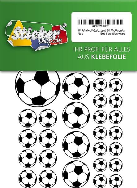 114, Fútbol, pegatinas, 15 – 50 mm, color blanco/negro, de PVC ...