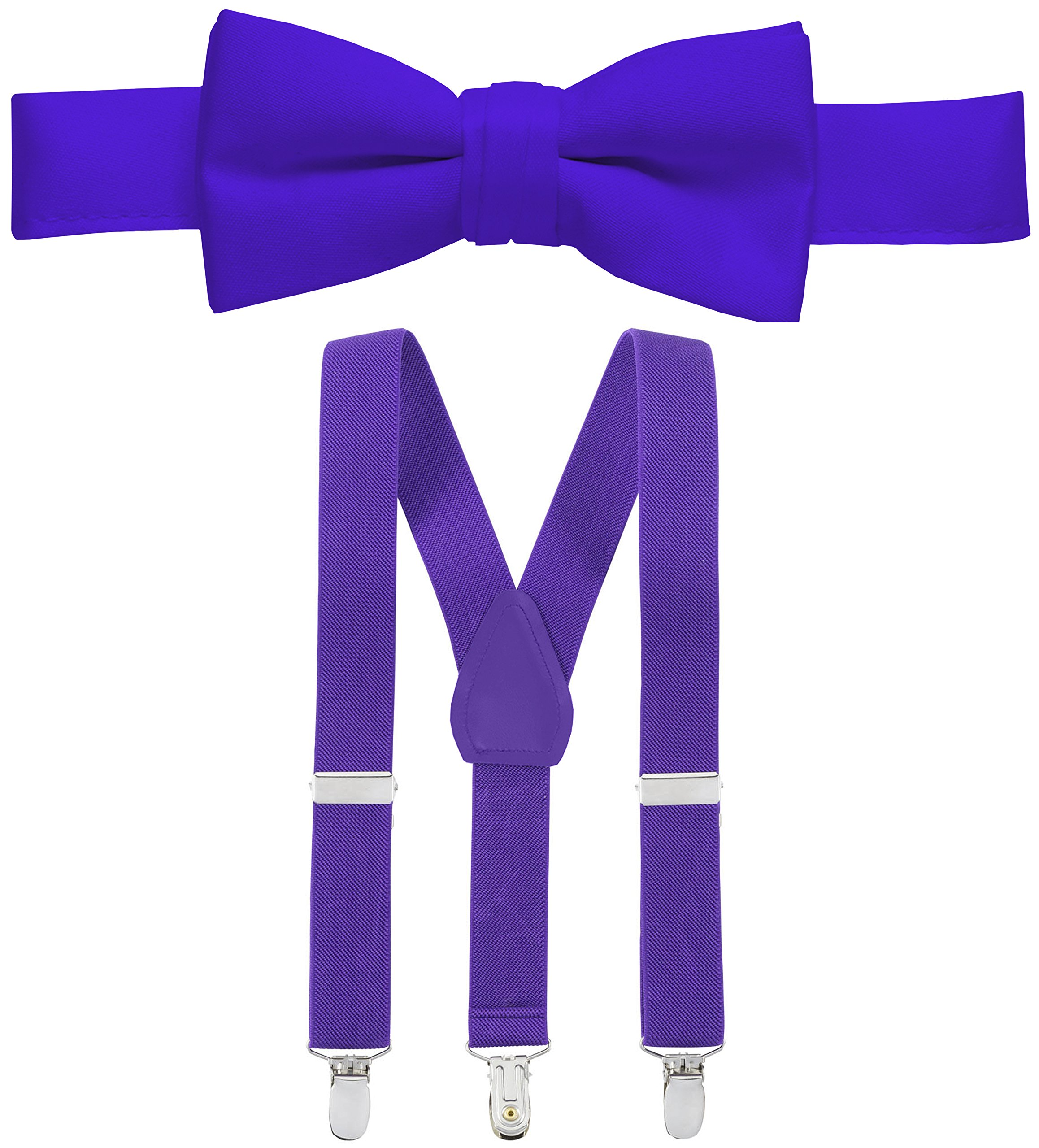 Hold'Em Suspender and Bow Tie Set for Kids, Boys, and Baby - Proudly Made in USA - Extra Sturdy Polished Silver Metal Clips, Pre tied Bow Tie-Purple 26''