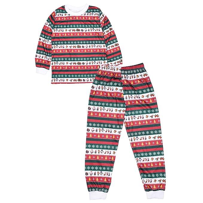 KINDOYO Conjunto de Ropa de Dormir - Dos Piezas Pijamas Navidad Familia Conjunto Tops y Pantalon