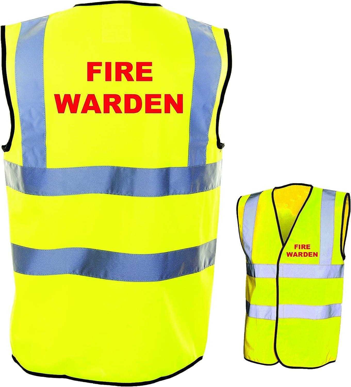 Small, Yellow FIRE WARDEN HI VIZ VIS WAISTCOAT VEST TABARD JACKET MARSHAL SAFETY WORK WEAR S-4XL