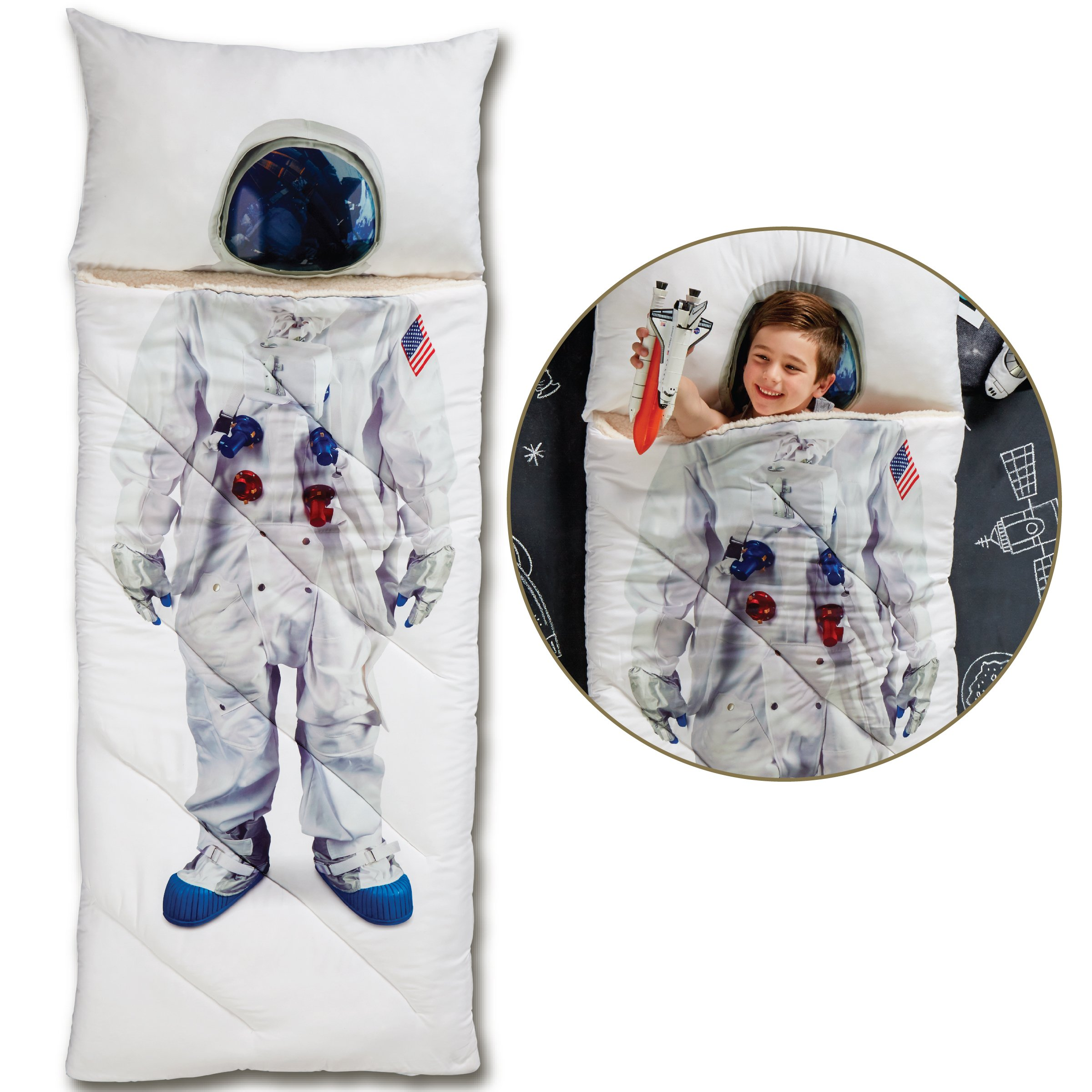 FAO Schwarz Imagine This Photo Printed Sleeping Bag for Children, Realistic Astronaut Design, Cozy Comfortable Sherpa Lining W/Integrated Pillow & Travel Straps, Full Size, Perfect for Sleepovers
