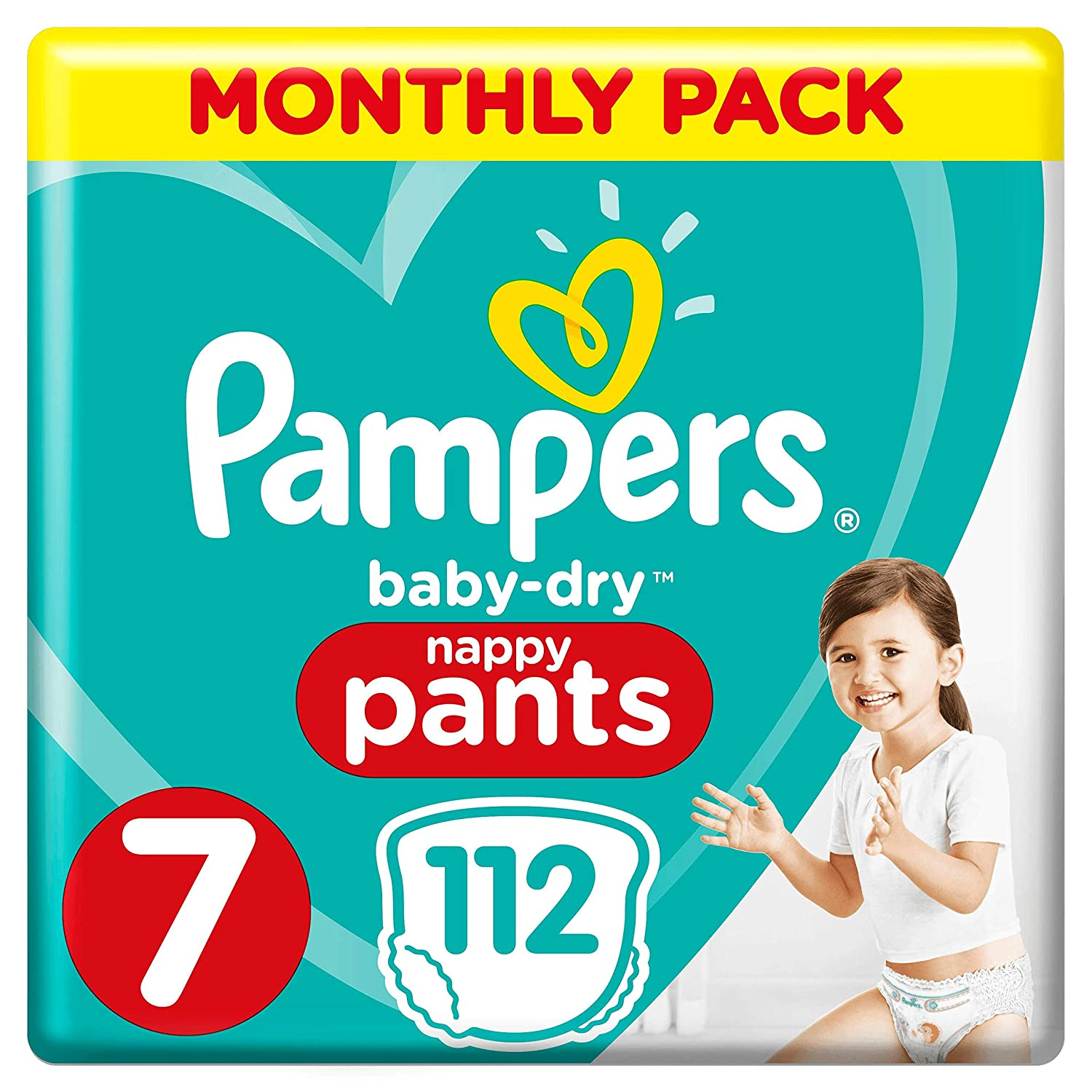 15+ kg 112 Nappies Air Channels for Breathable Drynes Pampers Baby-Dry Size 7