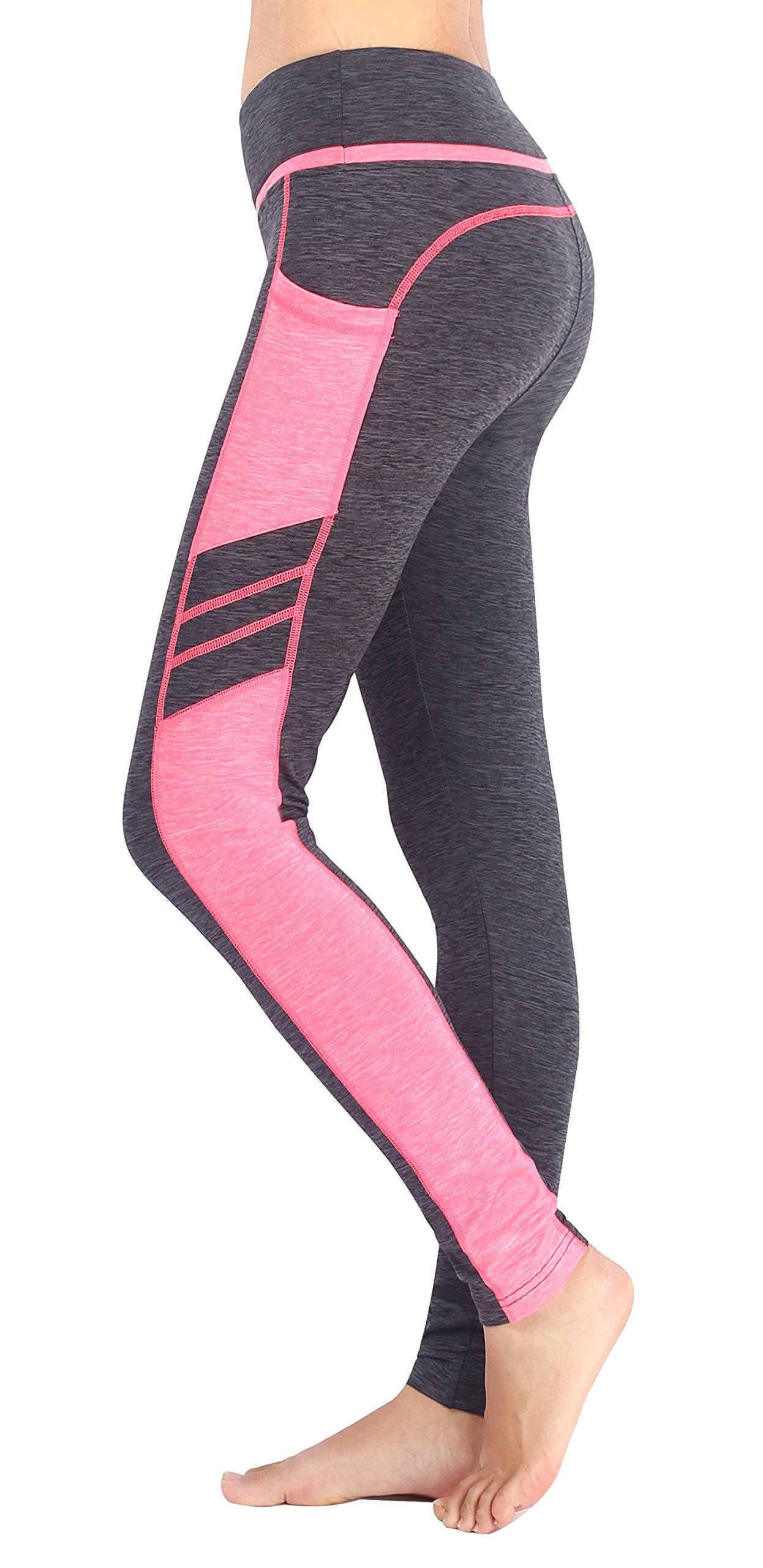 Sugar Pocket Women's Workout Leggings Running Tights Yoga Pants S (Light Grey/Pink)