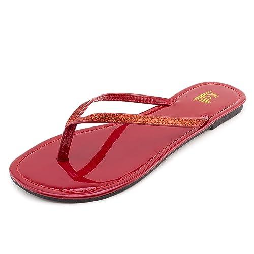6c629341515d Kali Womens Basic Flip Flop Flat Sandals (Red