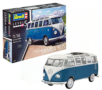 Revell- Maqueta Volkswagen T1 Samba Bus, Kit Modelo, Escala 1:16 (07009), 27,2 cm de Largo (