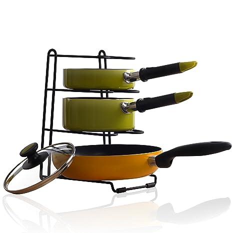 Cacerola organizador rack – Armario de cocina Pantry soporte para ollas y sartenes, color negro