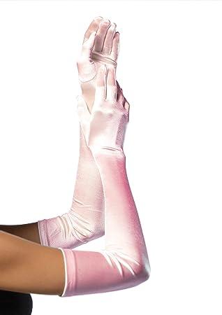 d5d040b014a14 Leg Avenue 16B - Extralange Satin-Handschuhe, hellenrosa, Einheitsgröße,  Damen Karneval Kostüm Fasching