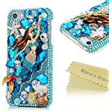 iPhone 5 Case,iPhone 5S Case ,iPhone SE Case, Mavis's Diary 3D Handmade Luxury Colorful Bling Crystal Rhinestone Diamond Starfish and Shell Design Hard Cover Clear Case with Soft Clean Cloth (Mermaid)