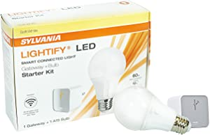 LEDVANCE 71932 Sylvania SW Zigbee Starter Kit, Includes: (1) A19 DIM 60W & (1) Lightify Gateway, Soft White Color