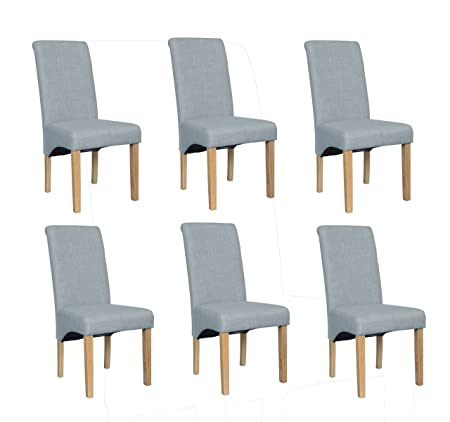Prime En Joy Set Of 6 Premium Fabric Linen Dining Chairs Roll Top Scroll High Back With Solid Wood Oak Effect Legs Contemporary Modern Look Light Grey Creativecarmelina Interior Chair Design Creativecarmelinacom