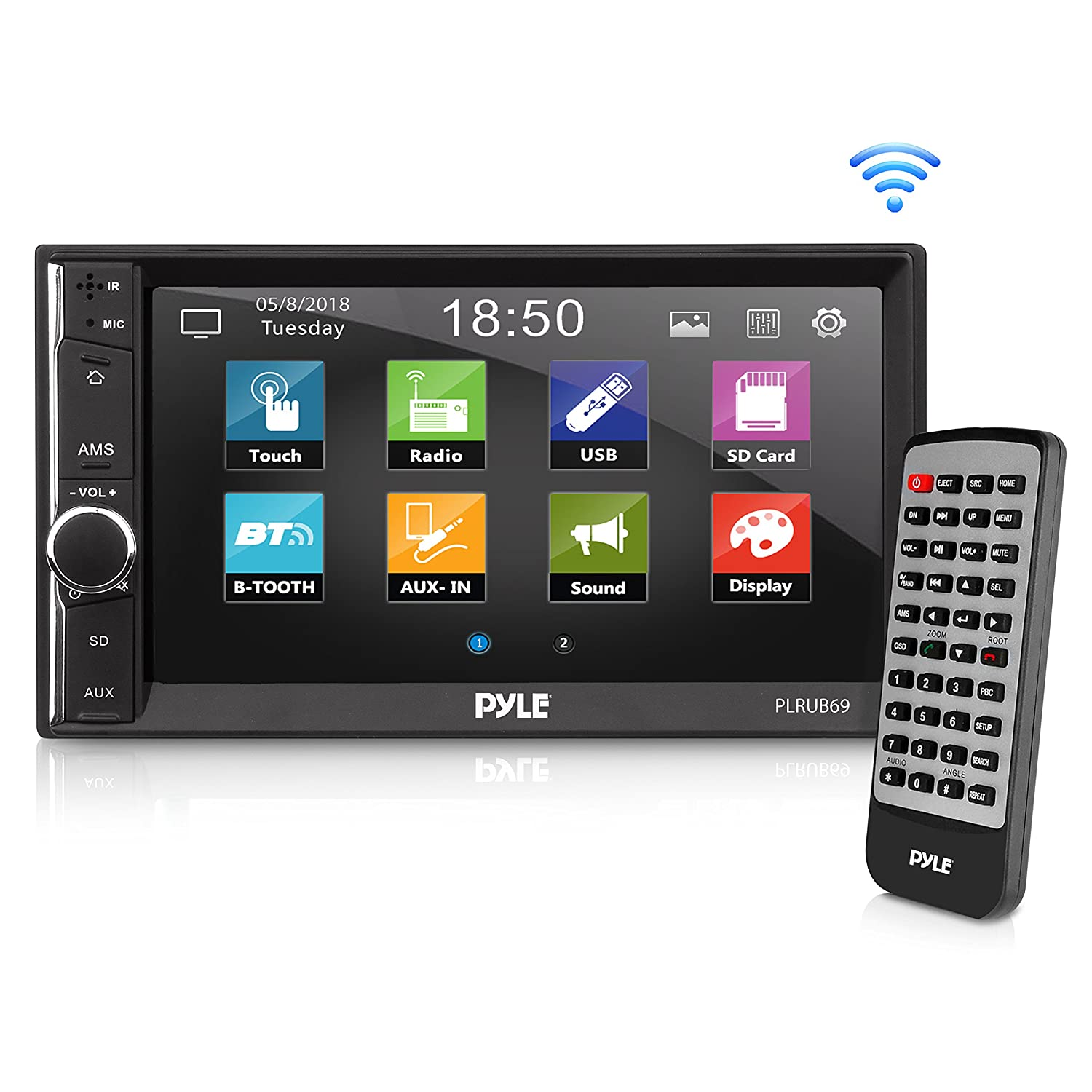 Pyle Car Audio Radio Receiver | Double Din Car Stereo | 6.5' Touchscreen | Bluetooth Audio Receiver | Wireless Streaming | Microphone | Handsfree | USB/SD Memory Card | AUX/MP3 Input | (PLRUB69) Sound Around