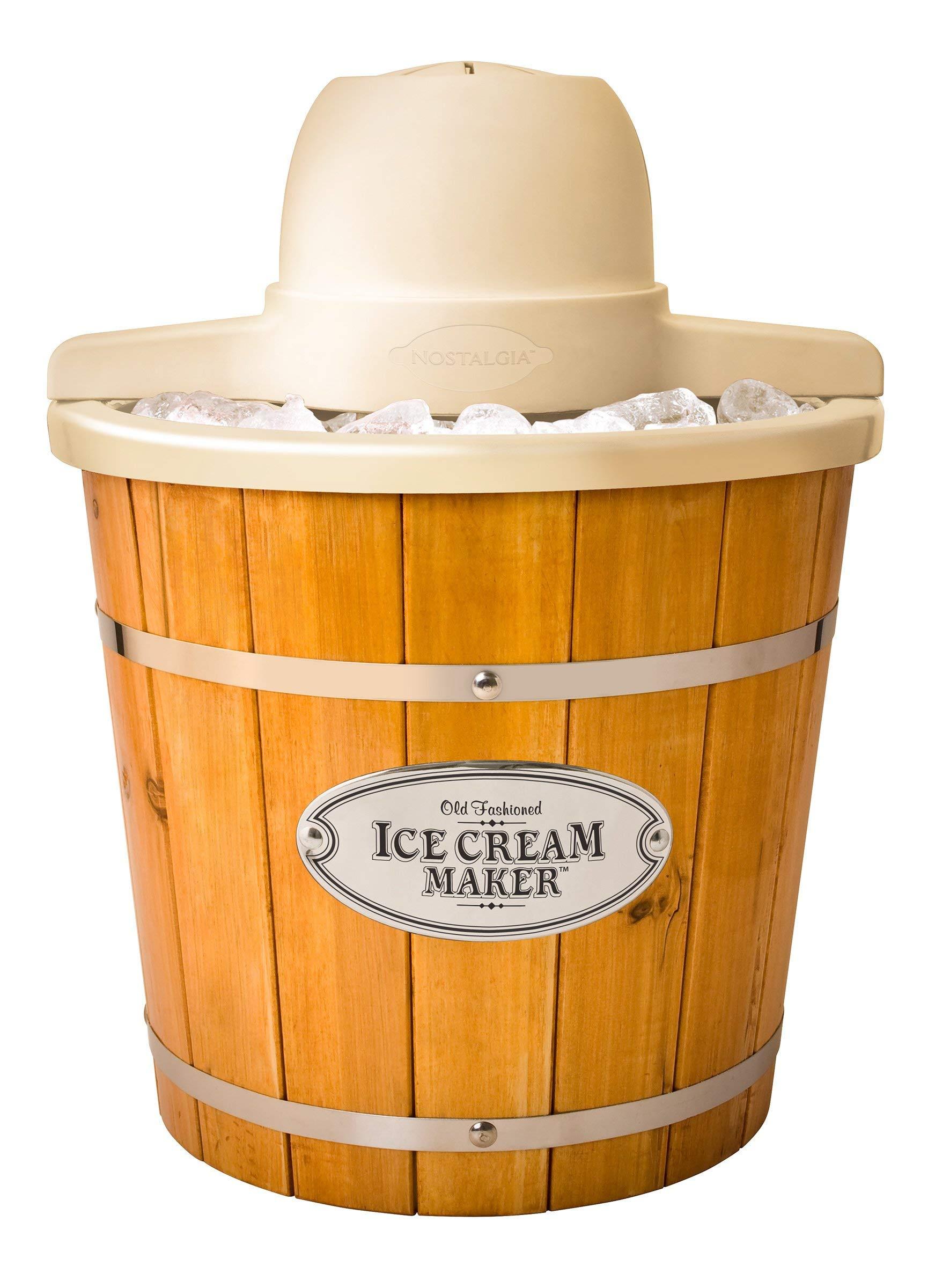 Nostalgia ICMP400WD Electric Wood Bucket Ice Cream Maker, 4-Quart, Brown (Renewed)