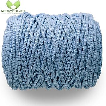 MeriWoolArt - Cordón de macramé de 10 mm x 60 m en bobina, hilo de algodón suave reciclado para soporte de plantas colgantes, fabricación de joyas, bolsas de ganchillo y decoración del