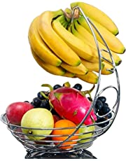 EVER RICH ® Fruit Bowl with Banana Hanger (Chrome)