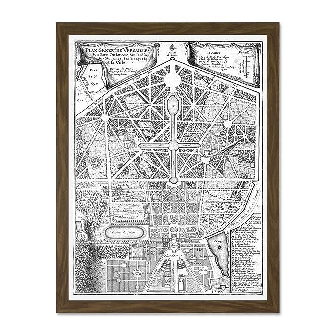 MAP ANTIQUE PALACE PLAN DE FER VERSAILLES PARK GARDENS LARGE PRINT POSTER LF1363