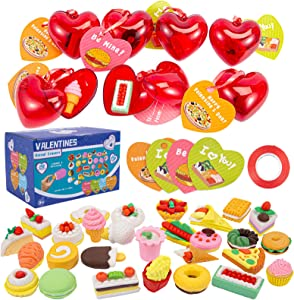 28 Packs Kids Valentines Party Favors Set Includes 28 Food Puzzle Erasers Filled Hearts and Valentines Day Kids Gift Cards For Classroom Exchange Prizes, Valentine Party Favors.