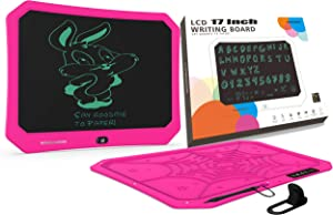 mom&myaboys LCD Writing Tablet 17 Inch for Kids 3-12 Years Old, Rechargeable Scribble and Play Doodle Board, Drawing Pads Gifts for Children and Adults Office Noting (Rose Red)