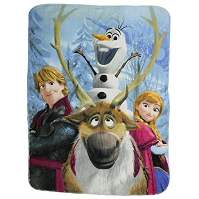 "Disney Movie Frozen Fleece Throw Blanket - Anna, Olfa the Snowman and Kristoff Fleece Throw Blanket 46""x60"": Home & Kitchen"