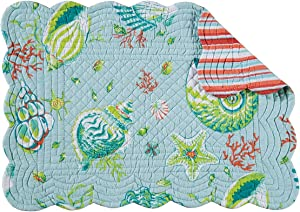 C&F Home Set of 4 Pcs, 13x19 Quilted Scallop Edge Placemat, Laguna Breeze