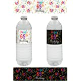 65th Birthday Party Water Bottle Labels - Multi-Colored (20 Count)