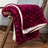 Grape Purple Velvet Throw Geometric Triangle Soft Touch Plush Blanket Sherpa Throw for Bed or Sofa - 130 x 160cm